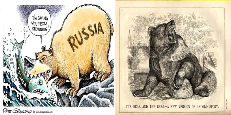 Comparison of treatment of Russia in cartoons